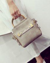 altın saplı haki omuz çantası sk11359