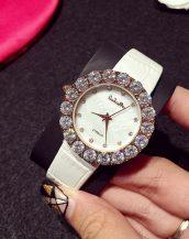 büyük iri taşlı beyaz deri kol saati sk11322