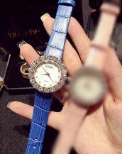 büyük iri taşlı mavi deri kol saati sk11322