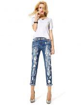 baskılı yırtık kısa paça jean pantolon sk12083