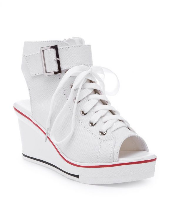 dolgu topuklu converse tarzı beyaz sandalet sk10673