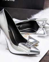 gümüş rengi papyonlu parlak gelin ayakkabısı sk11798