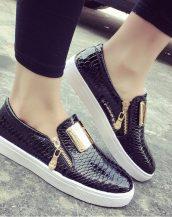 günlük gizli topuklu siyah rugan sneaker ayakkabı sk10558