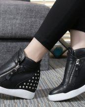 gizli topuklu zımbalı siyah sneaker spor ayakkabı sk10492