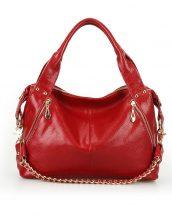 hakiki deri koyu kırmızı zincirli omuz çantası sk10640