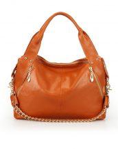 hakiki deri taba turuncu zincirli omuz çantası sk10640