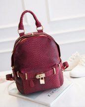 kilit detaylı şarap kırmızı bayan sırt çantası sk11227