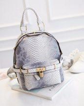 kilit detaylı gri beyaz bayan sırt çantası sk11227