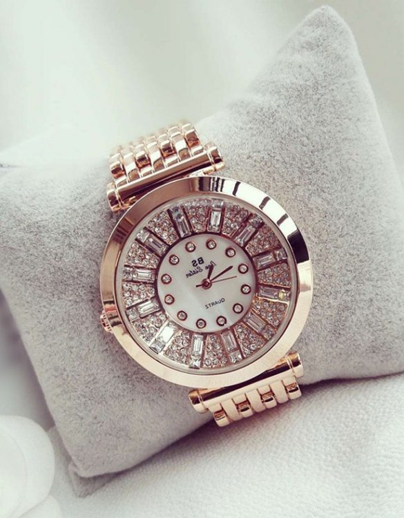 kristal taşlı bronz bayan kol saati sk11282