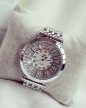 kristal taşlı gümüş bayan kol saati sk11282