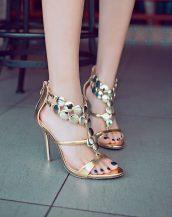 metal aksesuar bantlı altın topuklu sandalet sk11921