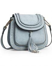 püsküllü zımbalı buz mavisi çapraz omuz çantası sk11258