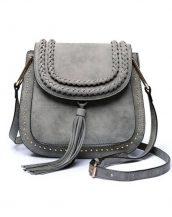 püsküllü zımbalı gri çapraz omuz çantası sk11258