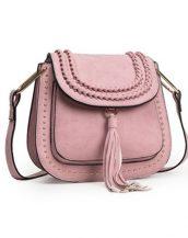 püsküllü zımbalı pembe çapraz omuz çantası sk11258
