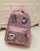 payetli parlak pembe sırt çantası sk12060