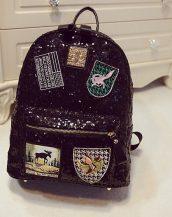 payetli parlak siyah sırt çantası sk12060
