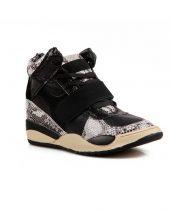 payetli platform siyah spor sneaker sk12012