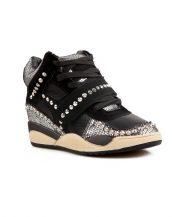 payetli platform zımbalı siyah spor sneaker sk12012