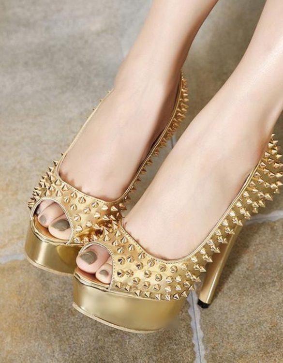 platform zımbalı altın dore topuklu ayakkabı sk12203