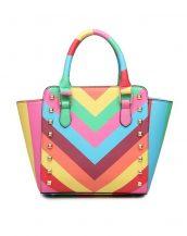 rainbow trapeze zımbalı çok renkli kol çantası sk10922