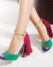 renkli püsküllü yazlık topuklu sandalet sk12154