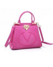 renkli zımbalı marka fuşya pembe kol çantası sk10876