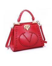 renkli zımbalı marka kırmızı kol çantası sk10876