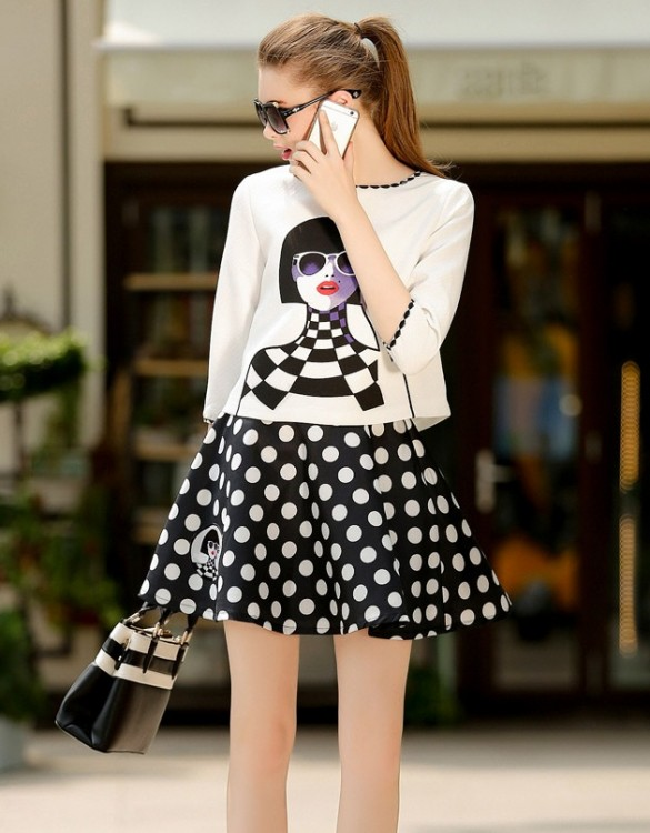 siyah beyaz puantiyeli elbise