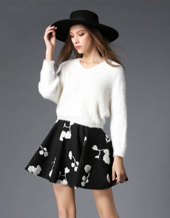 siyah-beyaz-vintage-elbise