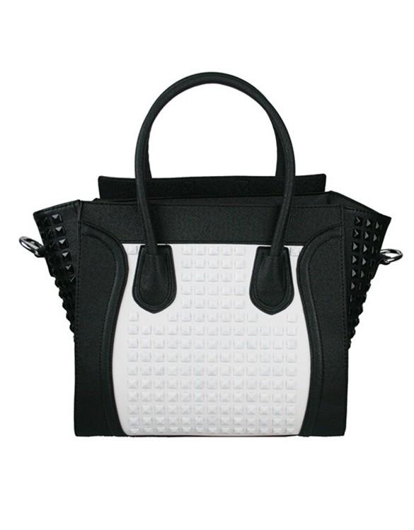 siyah beyaz zımbalı çanta