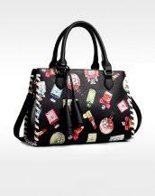 siyah desenli püsküllü tasarım deri çanta sk11424