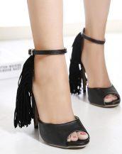 siyah püsküllü topuklu sandalet sk12154