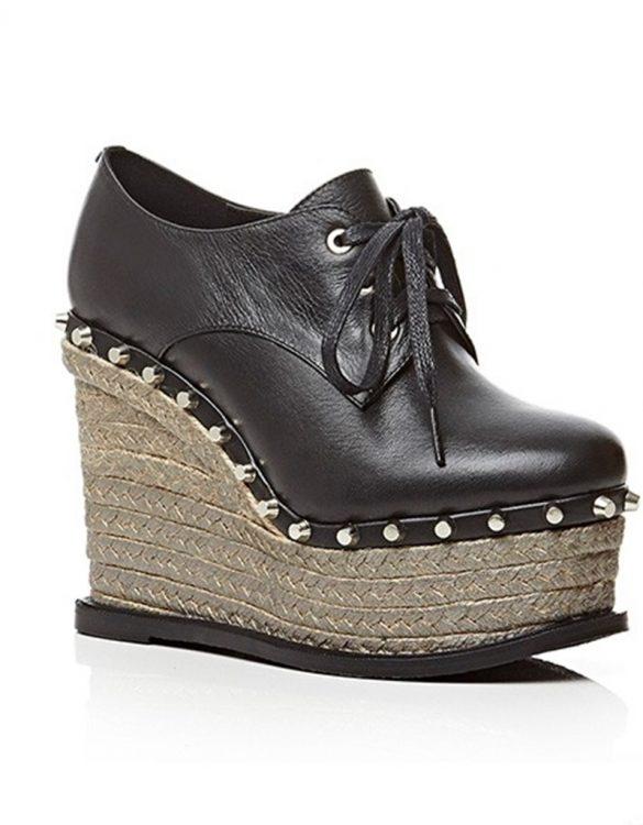 siyah yüksek platformlu deri zımbalı ayakkabı sk12037
