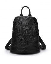 siyah yamalı zımbalı deri sırt çantası sk10934