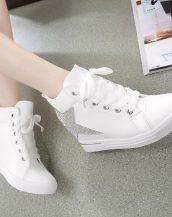 taş işlemeli yıldızlı beyaz bayan sneaker sk11716