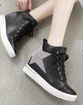 taş işlemeli yıldızlı siyah bayan sneaker sk11716