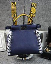 yılan derisi tasarım deri lacivert kol çantası sk10476