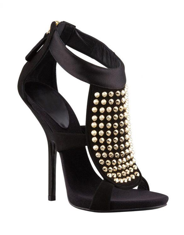 zımbalı süet siyah topuklu ayakkabı sandalet sk11046
