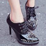 zımbalı topuklu siyah oxford ayakkabı sk12217