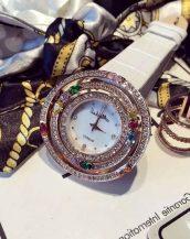 zirkon renkli taşlı beyaz bayan kol saati sk11293