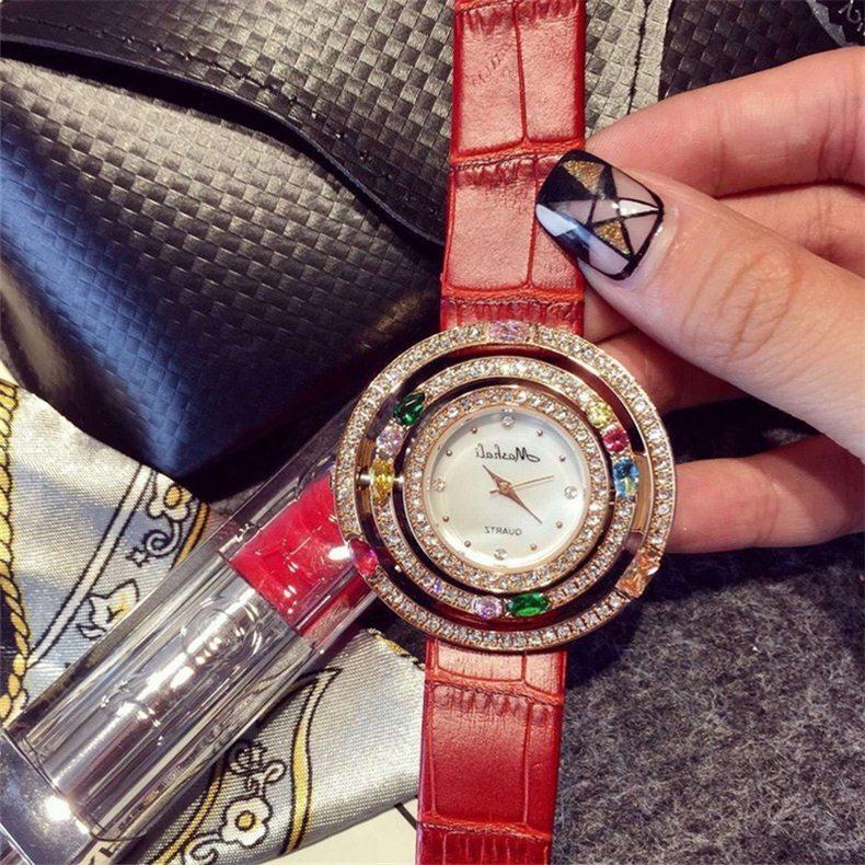 zirkon renkli taşlı kırmızı bayan kol saati sk11293