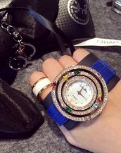 zirkon renkli taşlı mavi bayan kol saati sk11293