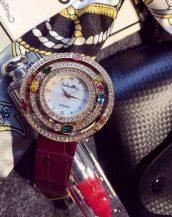zirkon renkli taşlı mor bayan kol saati sk11293
