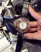 zirkon renkli taşlı siyah bayan kol saati sk11293