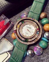 zirkon renkli taşlı yeşil bayan kol saati sk11293