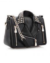 özel tasarım zımbalı siyah ceket çanta sk12447
