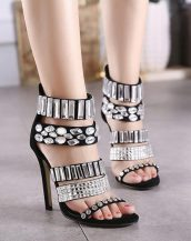 abiye taşlı topuklu siyah gece ayakkabısı sk12503