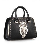 baykuş detaylı zımbalı siyah kol çantası sk12475