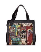 etnik tasarım siyah deri kol çantası sk12438