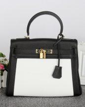 kabartma deri siyah beyaz kilitli kol çantası sk12636